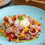 Burrata – Vorspeise zu Weihnachten mit Pestomarinade und Mango-Vinaigrette
